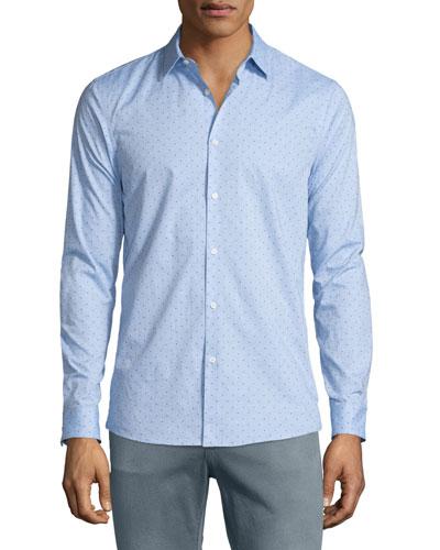 Beven Mel Dot-Print Long-Sleeve Sport Shirt, Cadet Melange
