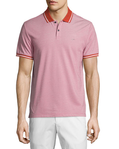 Tape-Tipped Birdseye Pique Polo Shirt, Cadmium Orange