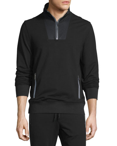 Mesh-Trim Half-Zip Pullover Sweater, Black
