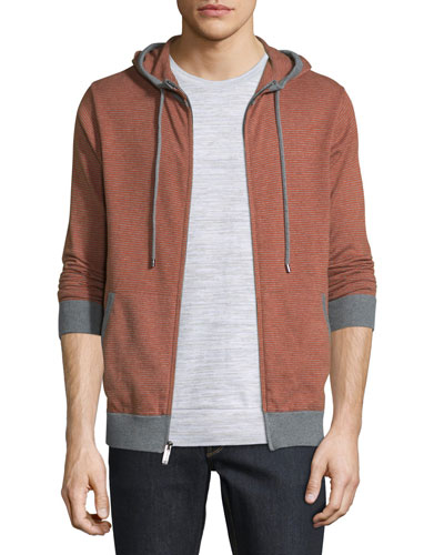 Feeder Stripe Zip-Up Hoodie, Cadmium Orange