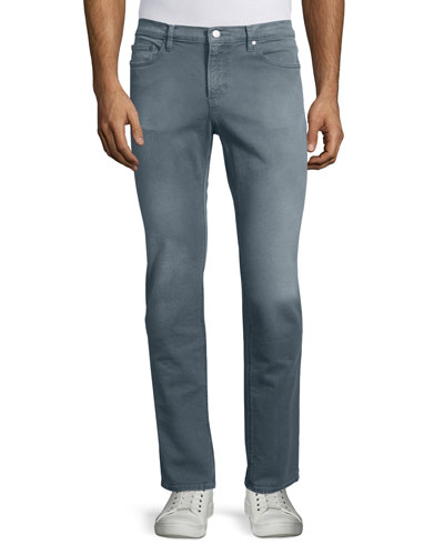 Five-Pocket Slim-Fit Denim Jeans, Slate Gray