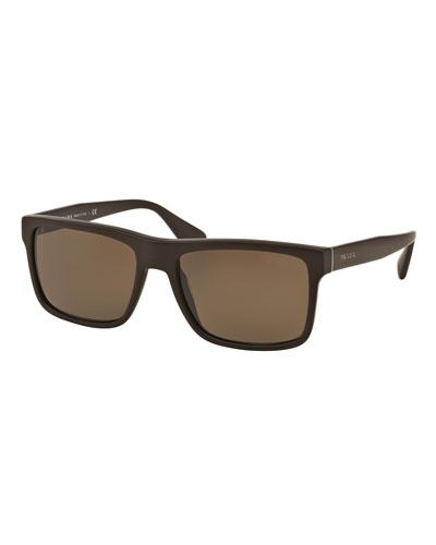 Rectangular Acetate Sunglasses, Brown
