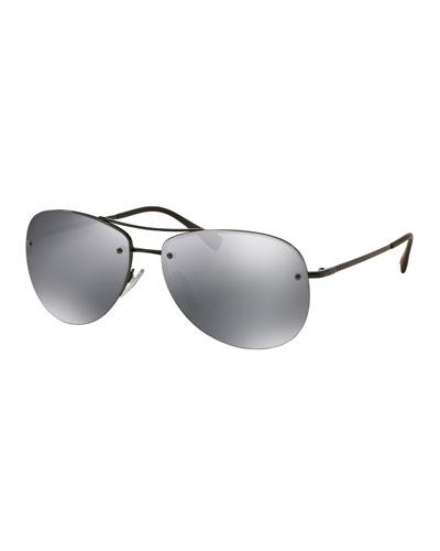 Rimless Metal Aviator Sunglasses, Black