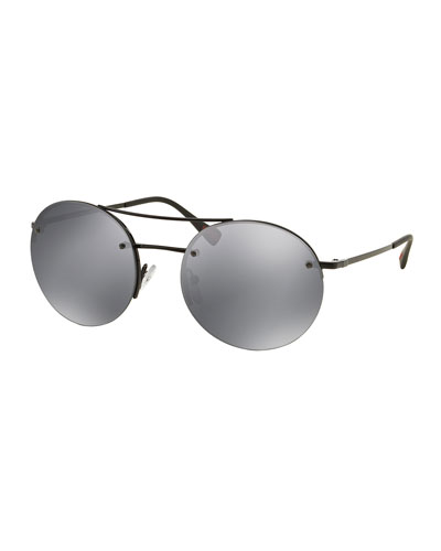 Rimless Round Sunglasses with Mirror Frames, Gray