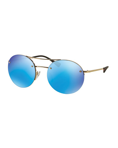 Rimless Round Sunglasses with Mirror Frames, Blue