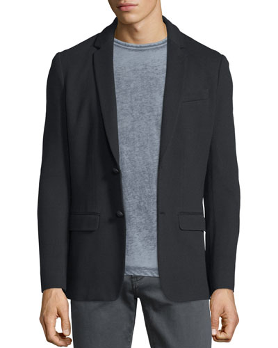 Textured Knit Two-Button Jacket, Black