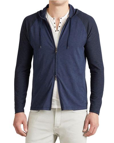 Contrast-Sleeve Pullover Hoodie, Twilight Blue