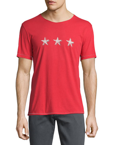 Three-Star Graphic Short-Sleeve T-Shirt, Brick Red