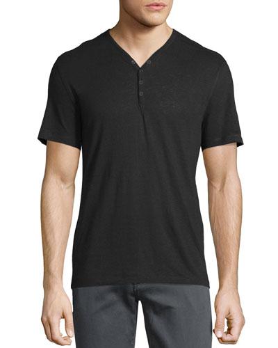 Short-Sleeve Snap-Front Henley T-Shirt, Black