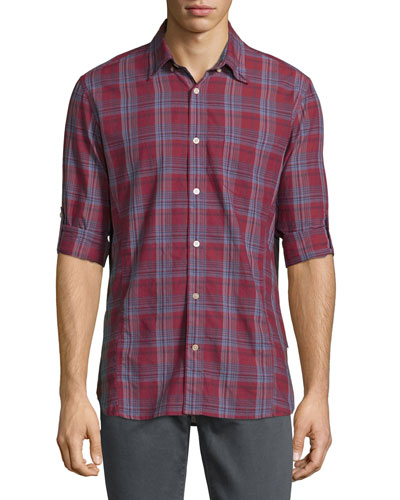 Plaid Roll-Tab Sleeve Sport Shirt, Brick Red