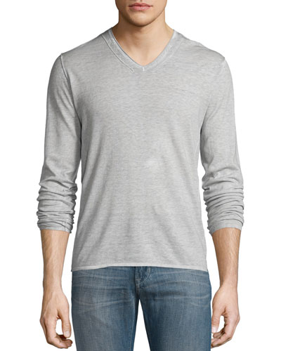 Pintuck-Sleeve V-Neck Sweater, Dew Gray