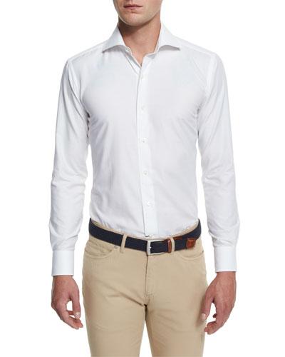 Silky Touch Herringbone Long-Sleeve Sport Shirt