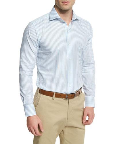 Striped Long-Sleeve Sport Shirt, Blue Vento