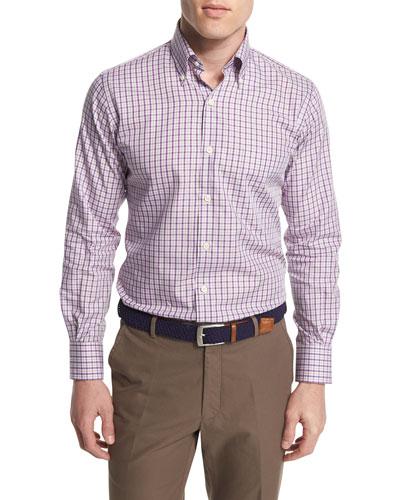 Check Long-Sleeve Sport Shirt, Purple