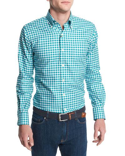 Check Long-Sleeve Oxford Shirt, Azure