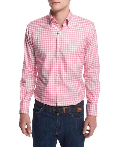 Check Long-Sleeve Oxford Shirt, Red