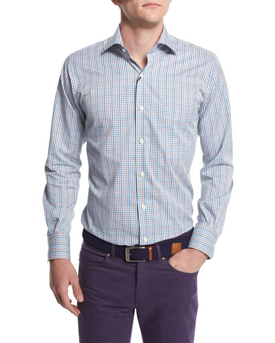 Crown-Finish Tattersall Sport Shirt, Azure