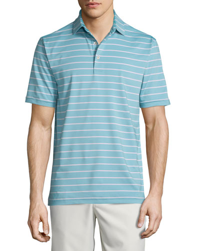 Tradeshow Striped Short-Sleeve Jersey Polo Shirt, Emerald