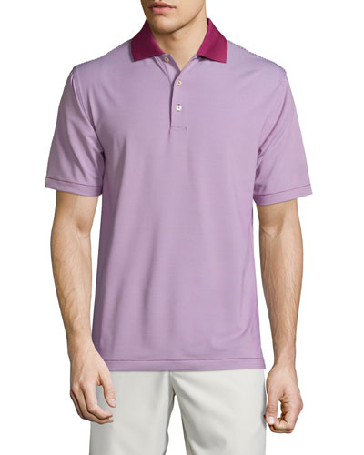Jubilee Striped Short-Sleeve Stretch Jersey Polo Shirt, Wine