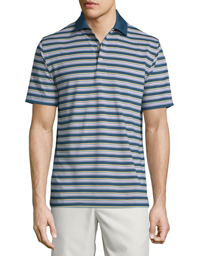 Convention Striped Jersey Short-Sleeve Polo Shirt, Navy