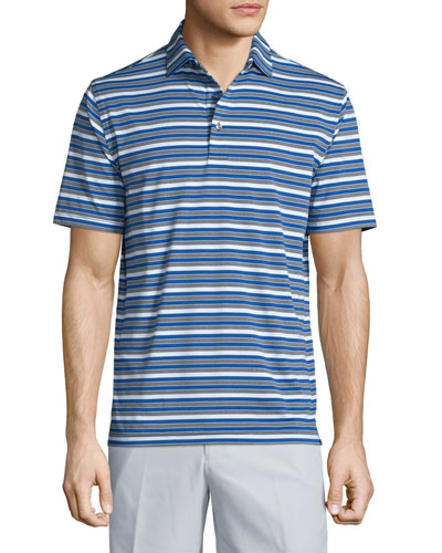 Vista Cay Striped Short-Sleeve Jersey Polo Shirt, Blue