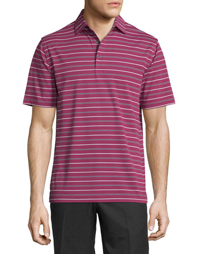 Glenwood Striped Jersey Short-Sleeve Polo Shirt, Wine