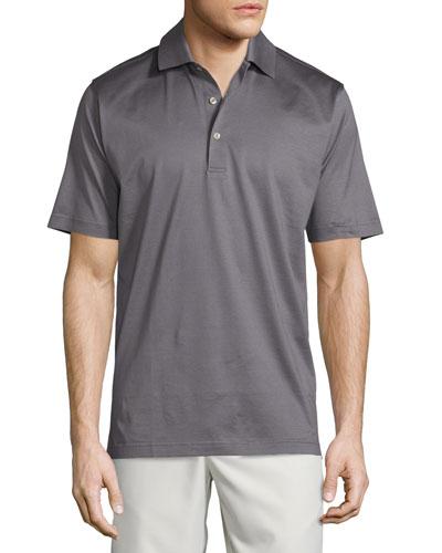 Solid Lisle-Knit Cotton Polo Shirt, Gray