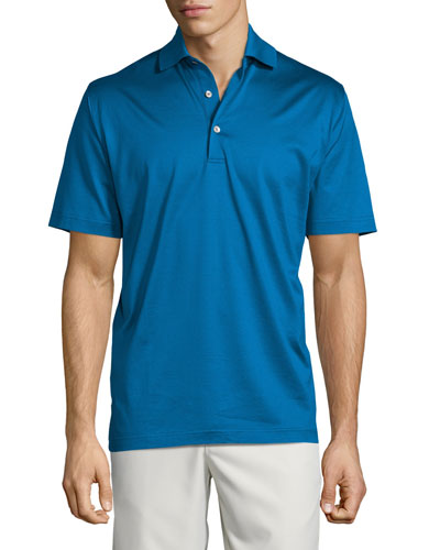 Solid Lisle-Knit Cotton Polo Shirt, Blue