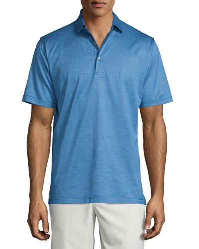 Fine-Stripe Lisle-Knit Polo Shirt, Blue