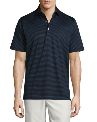 Striped Lisle Knit Polo Shirt, Black