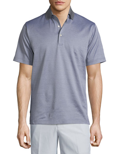 Jacquard Short-Sleeve Lisle Knit Polo Shirt, Gray