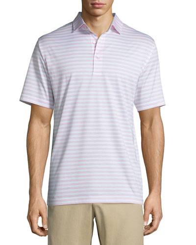 Charley Striped Lisle-Knit Polo Shirt, White