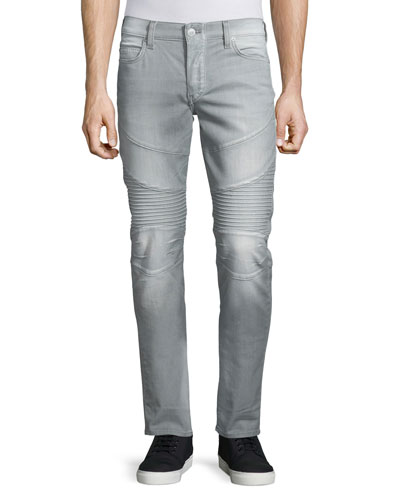 Rocco Overcast Moto Denim Jeans, Faded Slate