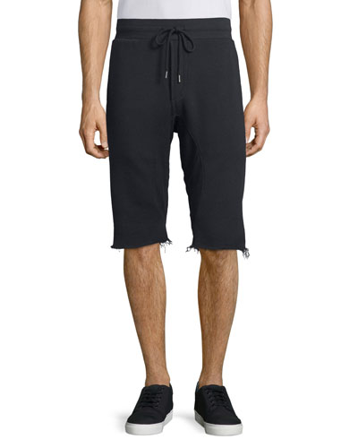 Chemical-Wash Frayed Sweat Shorts, Black