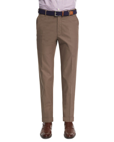 Lightweight Twill Flat-Front Pants, Brown