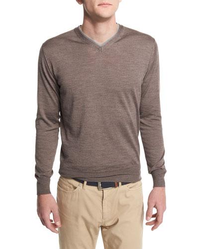 Silk-Blend V-Neck Pullover Sweater, Metallic Brown