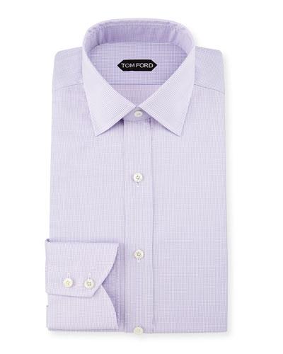 Micro-Houndstooth Slim-Fit Dress Shirt, Light Purple