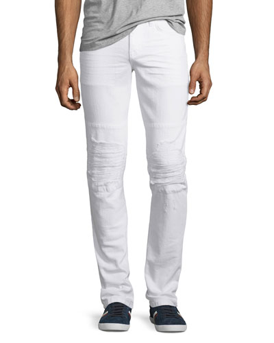 Slim-Fit Distressed Jean, White