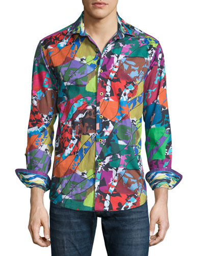 Cholla Cactus Printed Long-Sleeve Sport Shirt, Multicolored