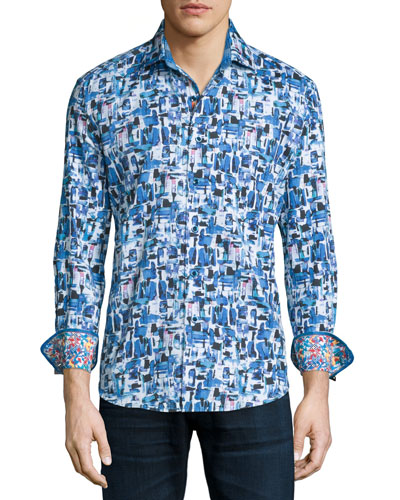 Salton Sea Printed Long-Sleeve Sport Shirt, Cobalt