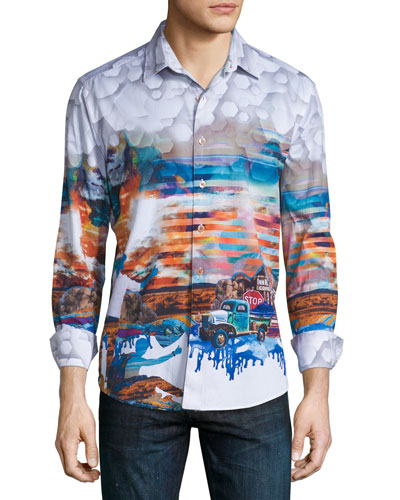 Ghost Towns Printed Long-Sleeve Sport Shirt, Multicolor