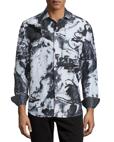 Limited Edition Tie-Dye Silk Sport Shirt, White