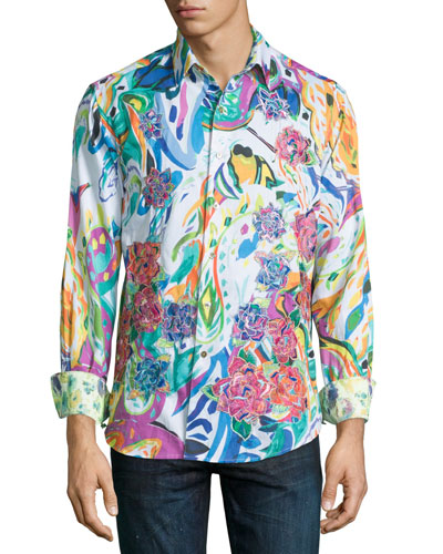 Limited Edition Printed Sport Shirt W/Embroidery, White