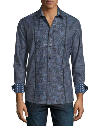 Limited Edition Geo-Print Long-Sleeve Sport Shirt, Charcoal