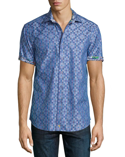 Ridgecrest Short-Sleeve Printed Shirt, Blue