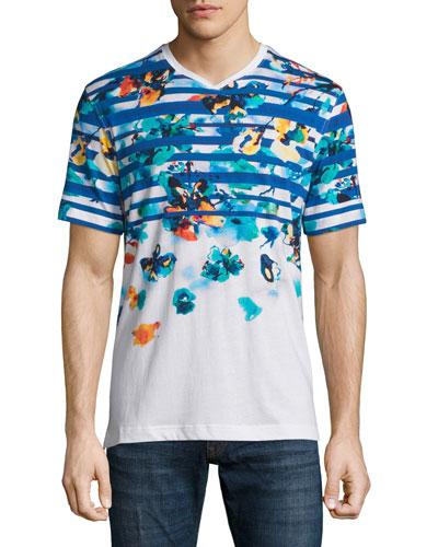 Spring Mountain Multi-Printed Short-Sleeve Tee, White