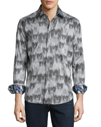 Ghostriders Skull-Print Sport Shirt, Gray