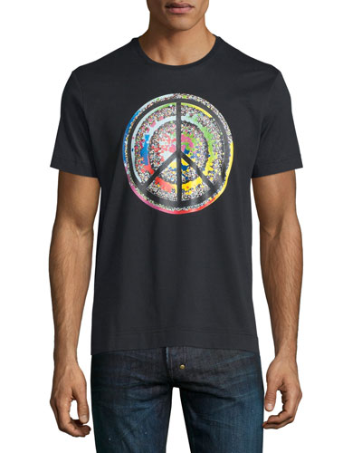Multicolored Peace Sign Short-Sleeve T-Shirt, Black
