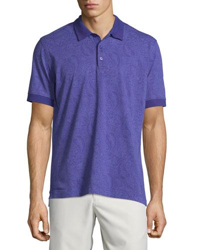 Paisley-Printed Short-Sleeve Polo Shirt, Purple
