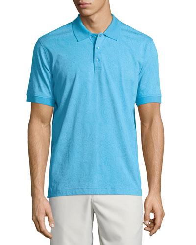 Paisley-Print Short-Sleeve Polo Shirt, Aqua